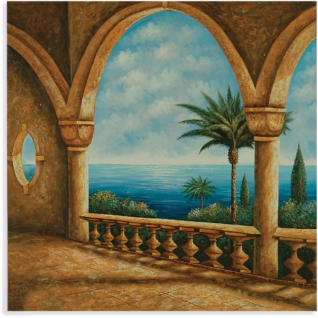 Portico Palm Trees and Ocean View Canvas Wrap 7200-177EC