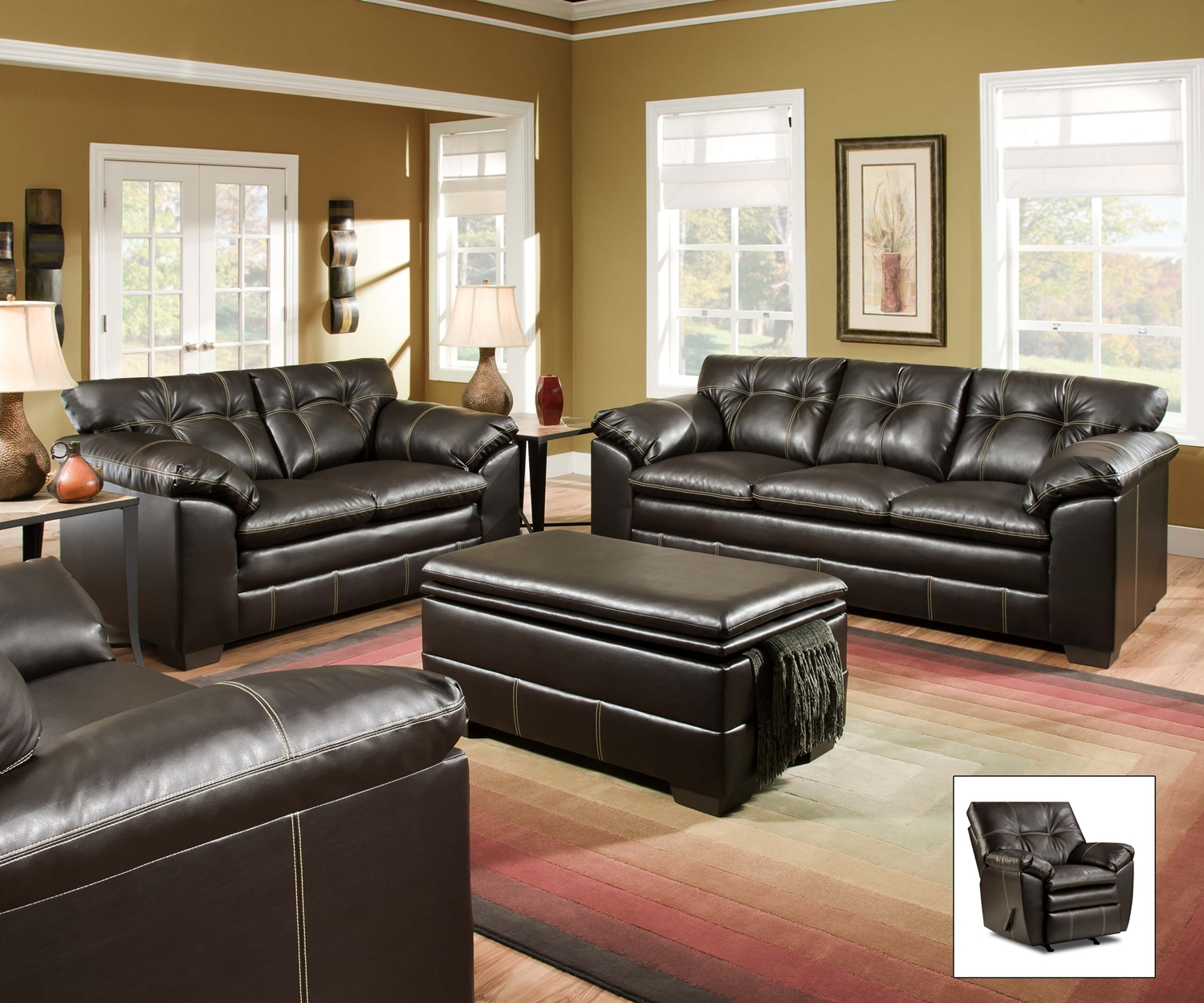 Brown Living Room Tables Sets: Premier Chocolate Brown Contemporary Tufted Living Room