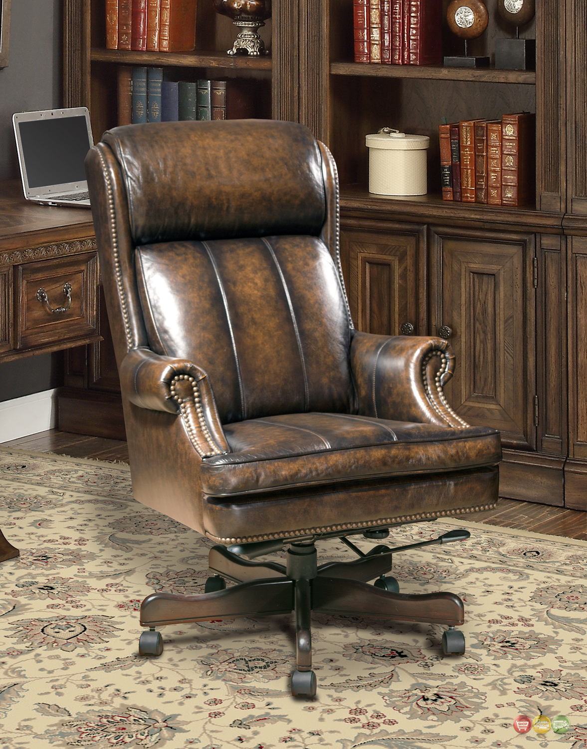 executive office desk chair genuine brown leather traditional w