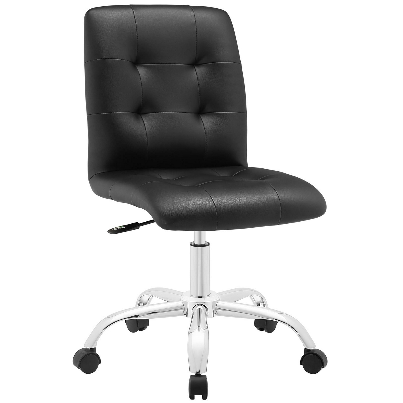 prim modern faux leather armless mid back office chair black