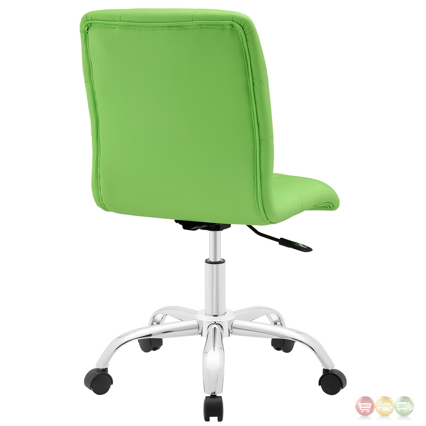 prim modern faux leather armless mid back office chair bright green