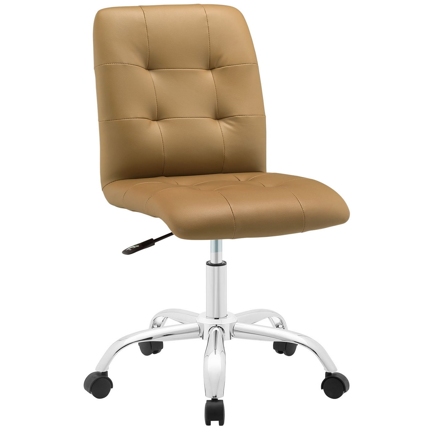 prim modern faux leather armless mid back office chair tan