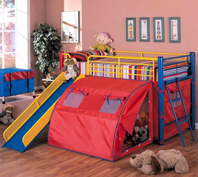 Primary Colors Tent Loft Bunk Bed Fort With Slide