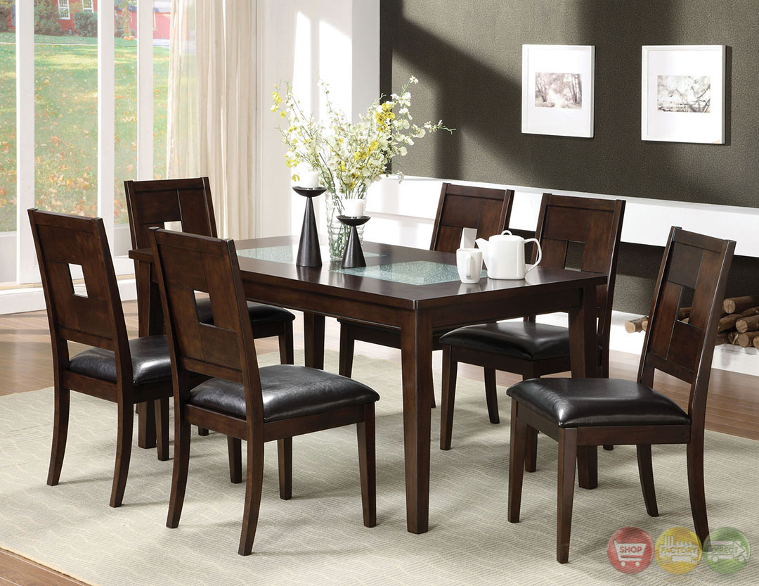 amazing photo of dark walnut casual dining set with cracked glass inserts cm3093t with 9e922d