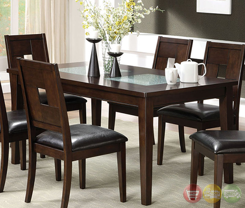 ... Dark Walnut Casual Dining Set with Cracked Glass Inserts CM3093T