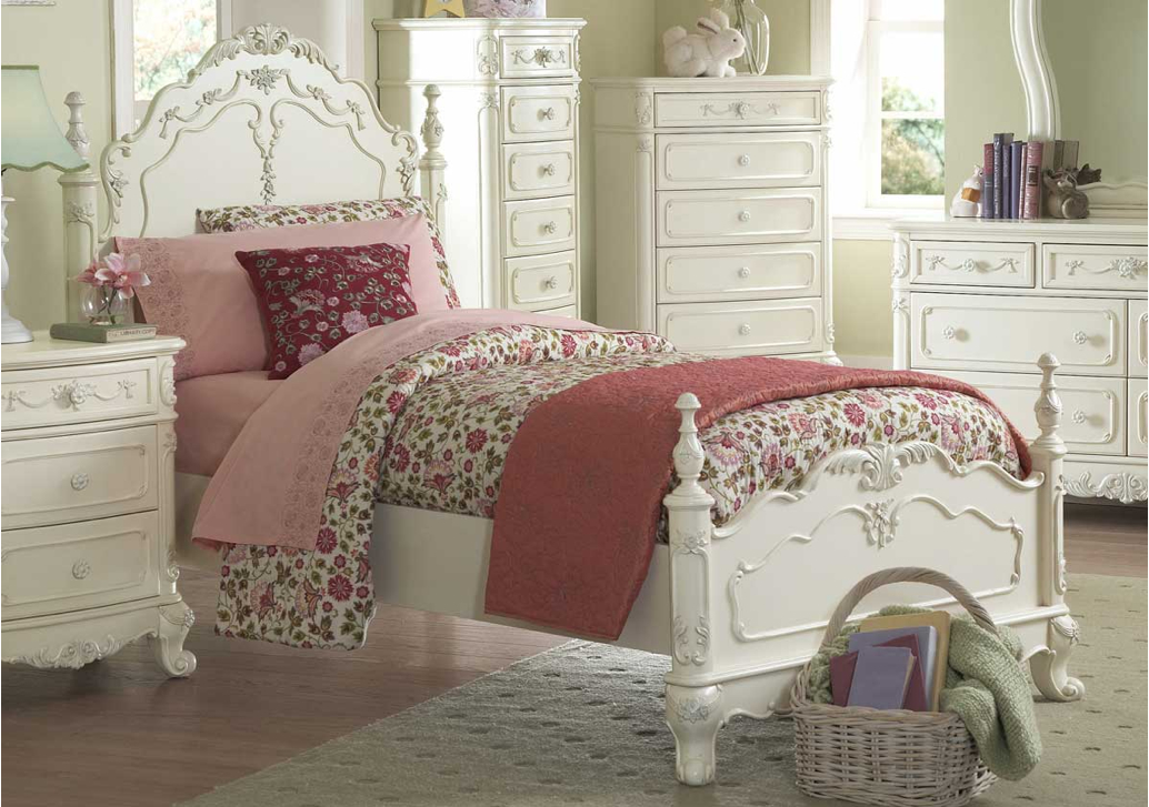 princess white twin victorian style bed b1386t home elegance