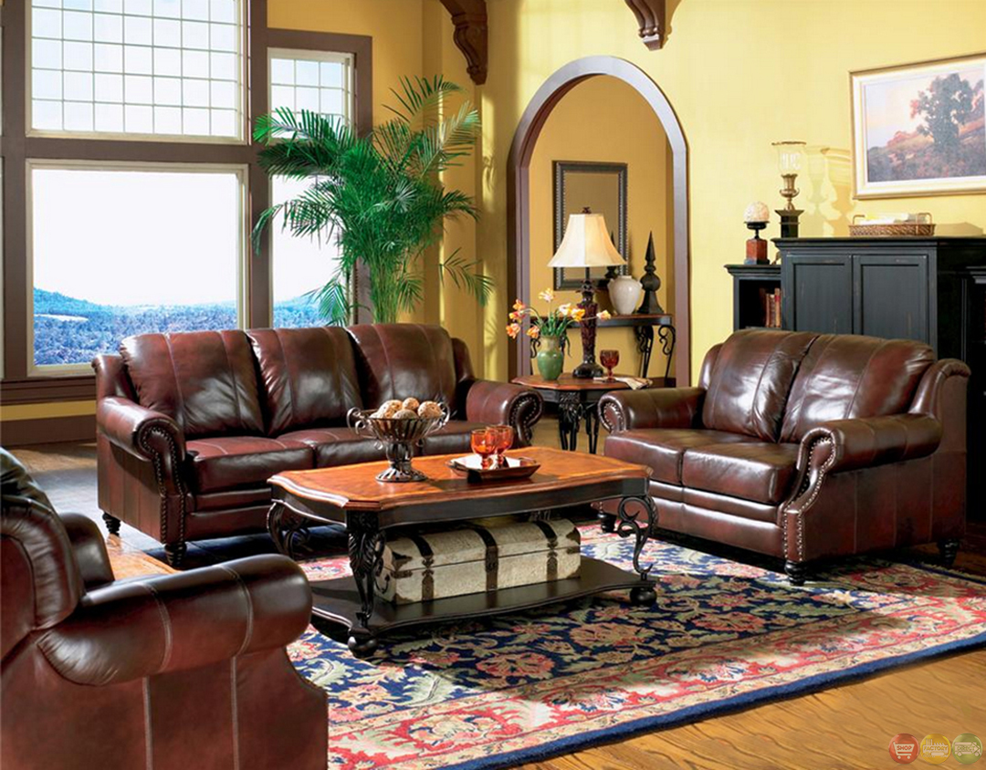 Furniture For Living Rooms: Princeton Genuine Leather Living Room Sofa & Loveseat Tri