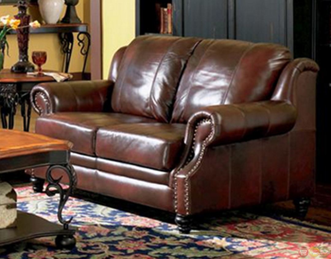 princeton genuine leather living room sofa loveseat tri tone brown