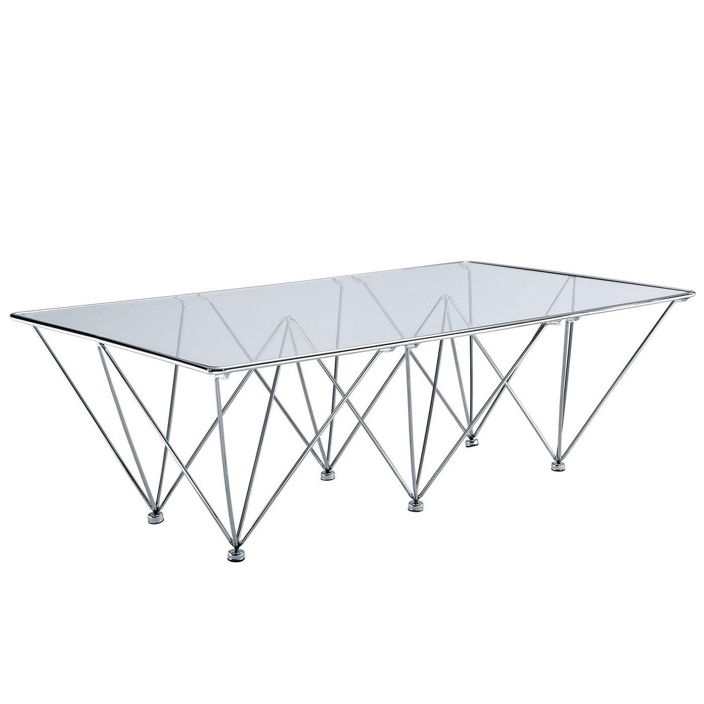 Glass Coffee Table With Stainless Steel Legs: Modern Glass Top Coffee Table
