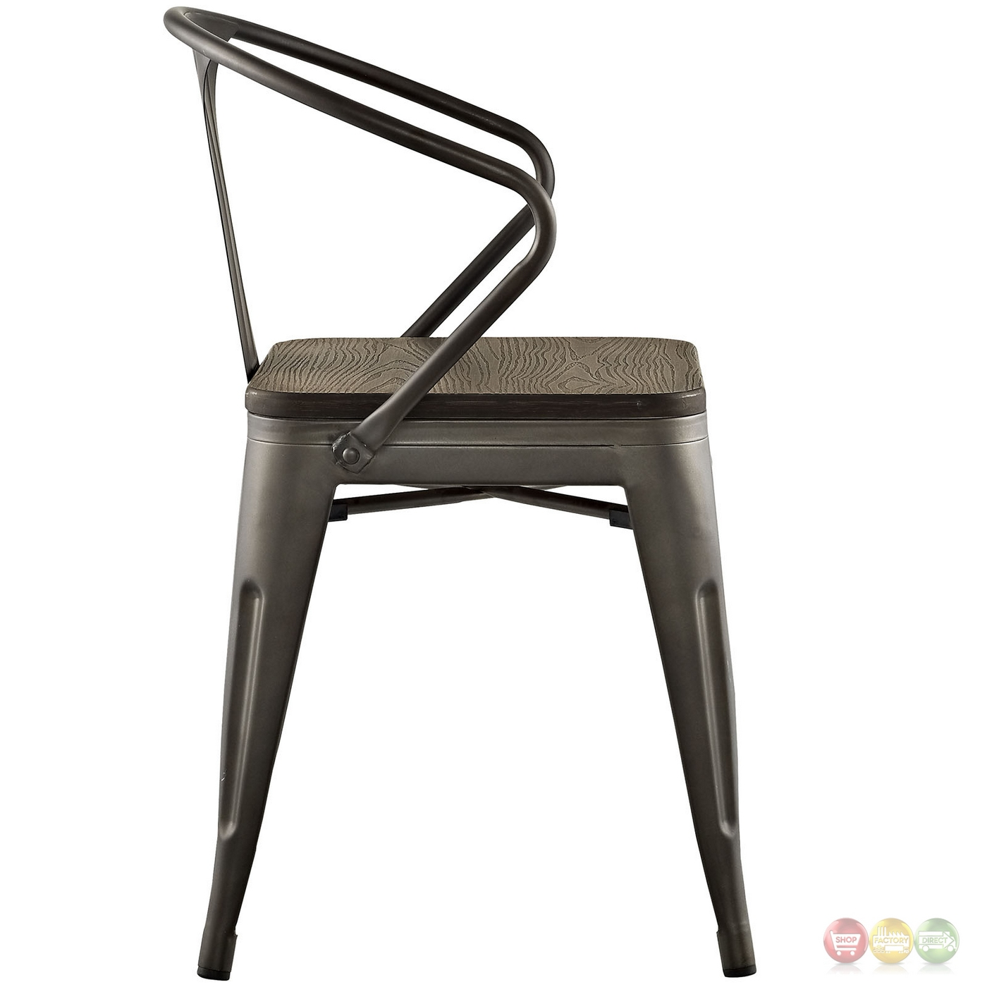 Promenade Vintage Arm Chair W/ Wooden Seat & Distressed Finish Brown. Full resolution  file, nominally Width 1400 Height 1400 pixels, file with #963537.