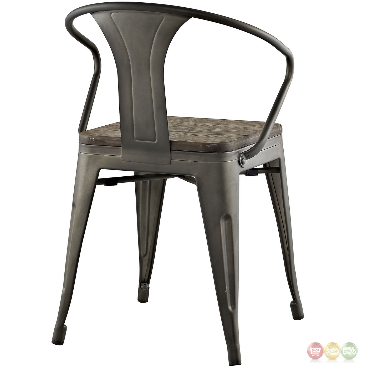 Promenade Vintage Arm Chair W/ Wooden Seat & Distressed Finish Brown. Full resolution  photograph, nominally Width 1400 Height 1400 pixels, photograph with #963537.