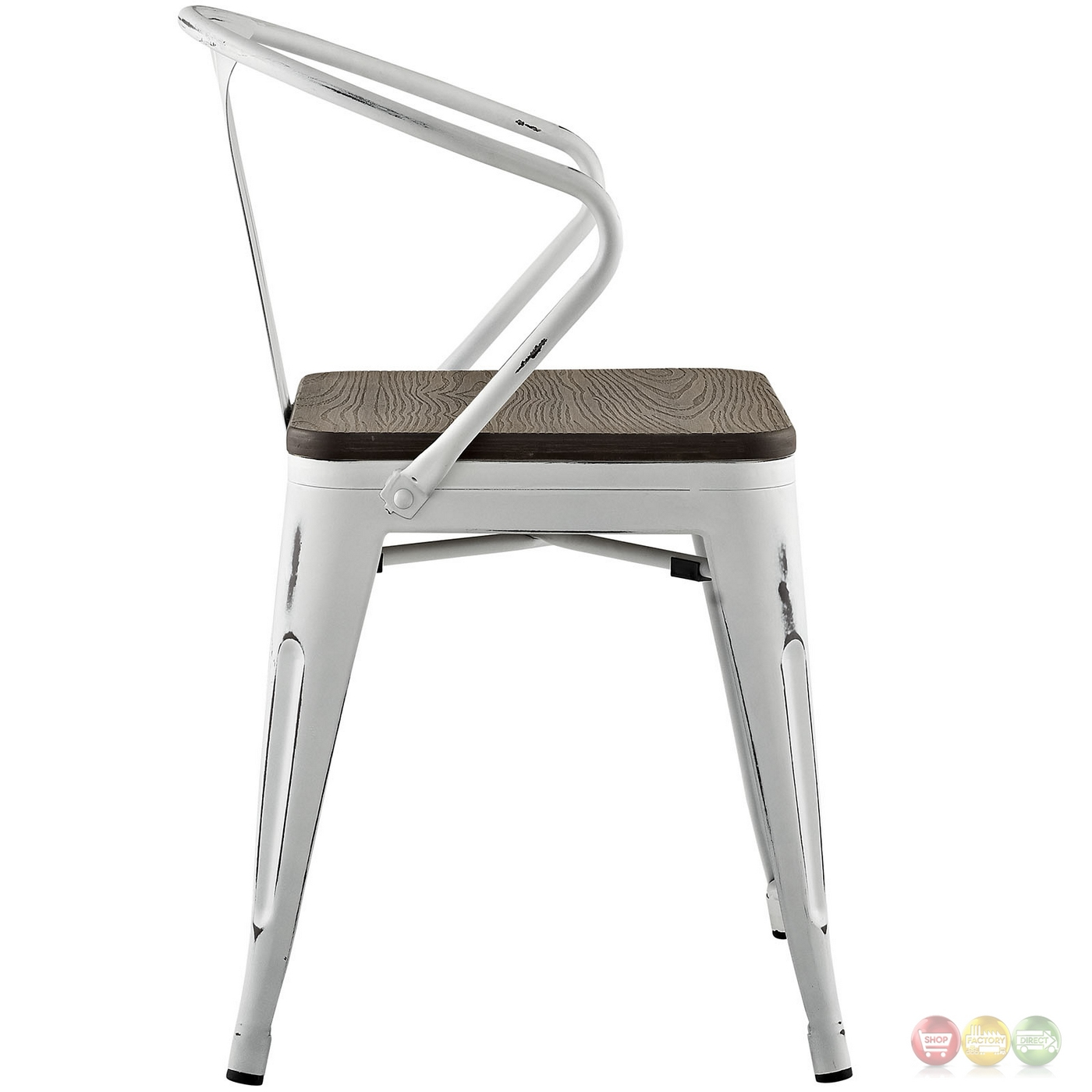 Superb img of Promenade Vintage Arm Chair w/ Wooden Seat & Distressed Finish White with #963537 color and 1400x1400 pixels
