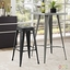 Promenade Vintage Steel Bar Stool With Distressed Finish, Black