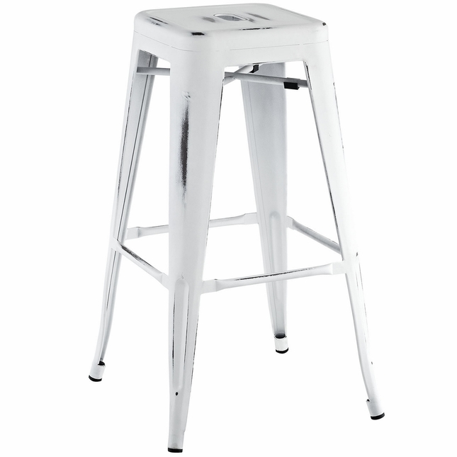 Promenade Vintage Steel Bar Stool With Distressed Finish, White