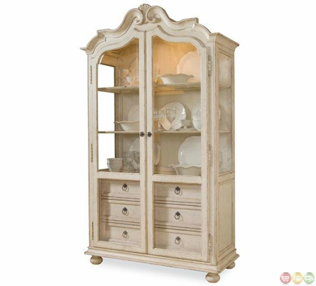 Provenance French Country Distressed Curio Display Cabinet