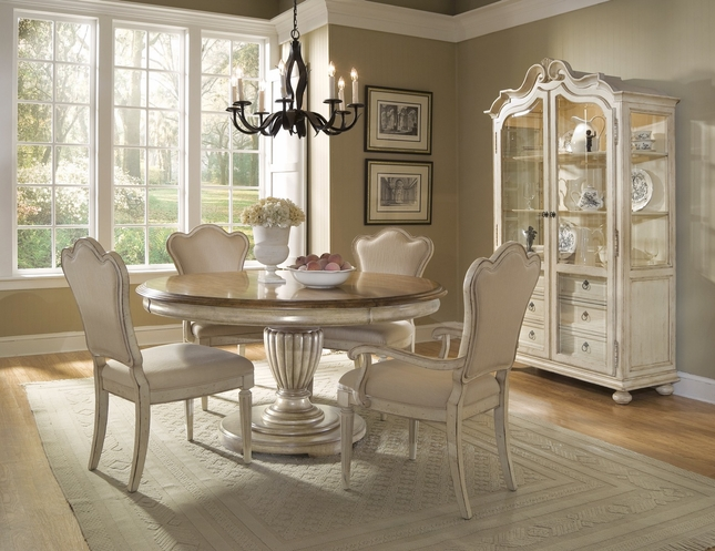 Provenance French Country Whitewash Round / Oval Table & Chairs Dining Room Set