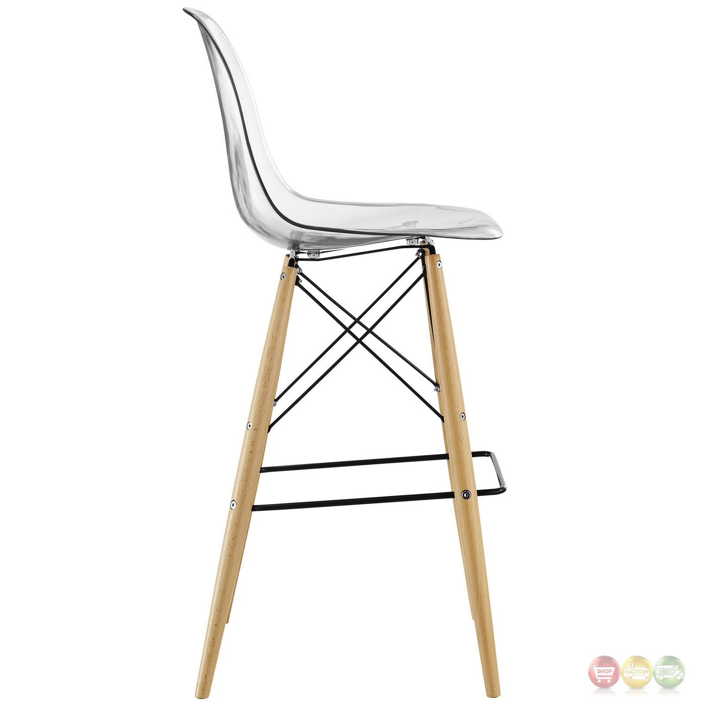 Pyramid Modern Molded Plastic Bar Stool With Wood Legs Clear