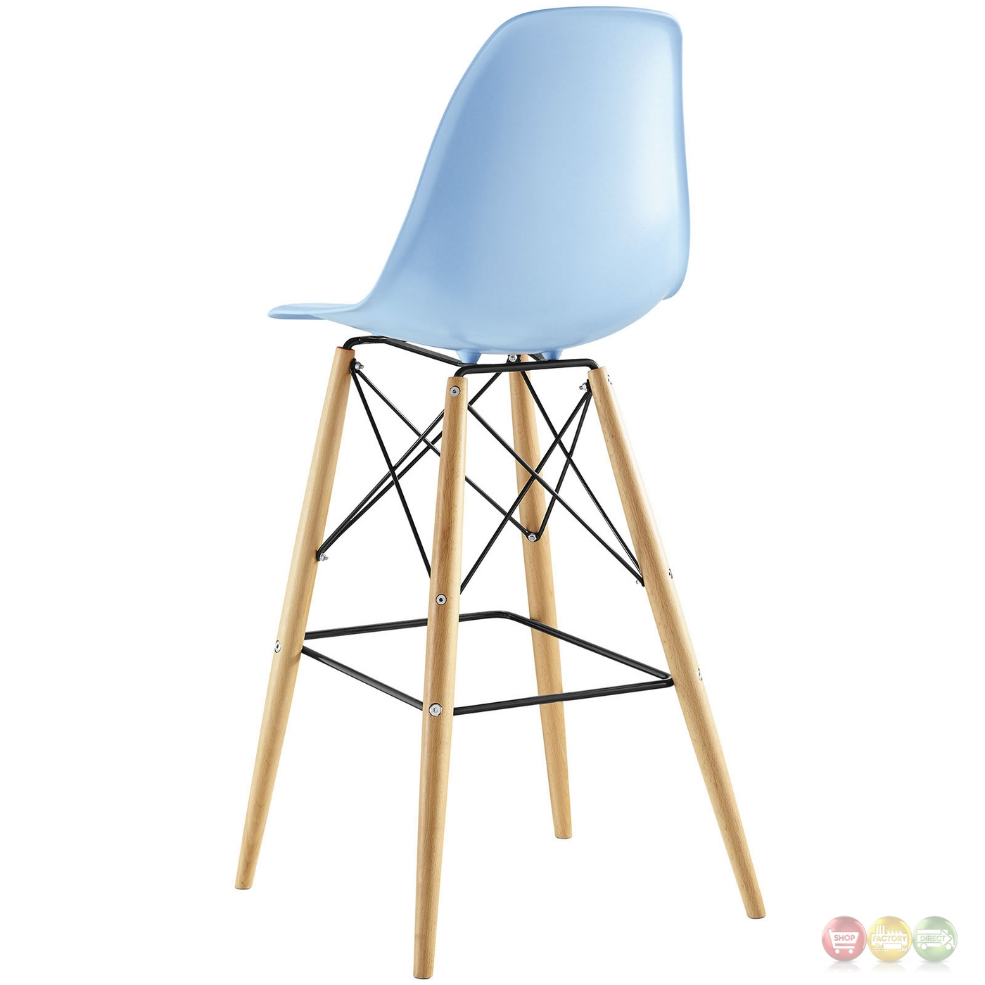 Pyramid Modern Molded Plastic Bar Stool With Wood Legs