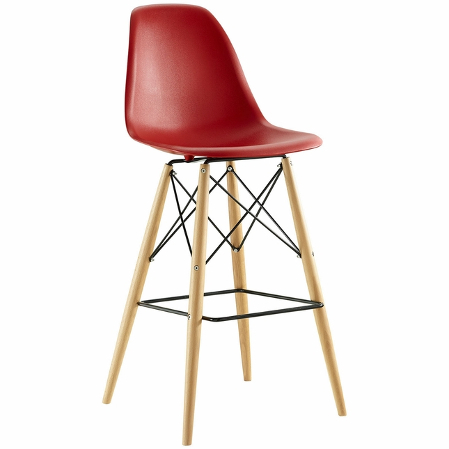 Pyramid Modern Molded Plastic Bar Stool With Wood Legs, Red