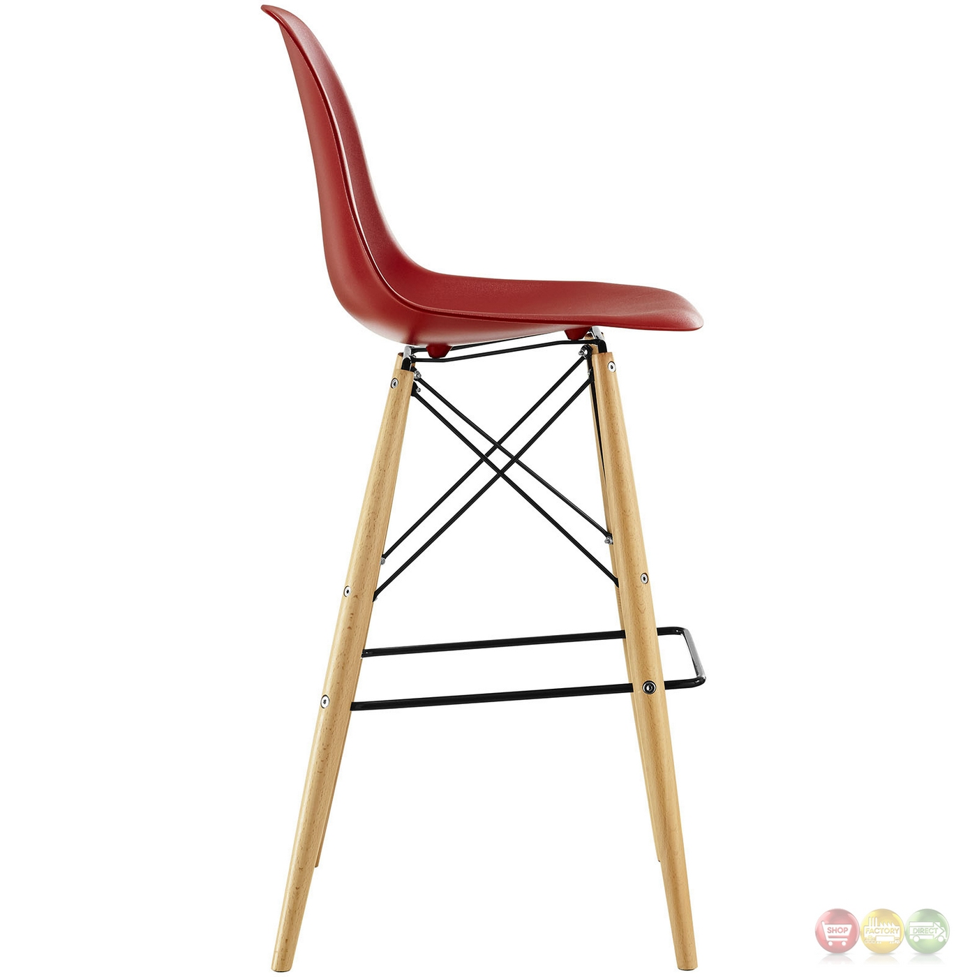 Pyramid Modern Molded Plastic Bar Stool With Wood Legs Red