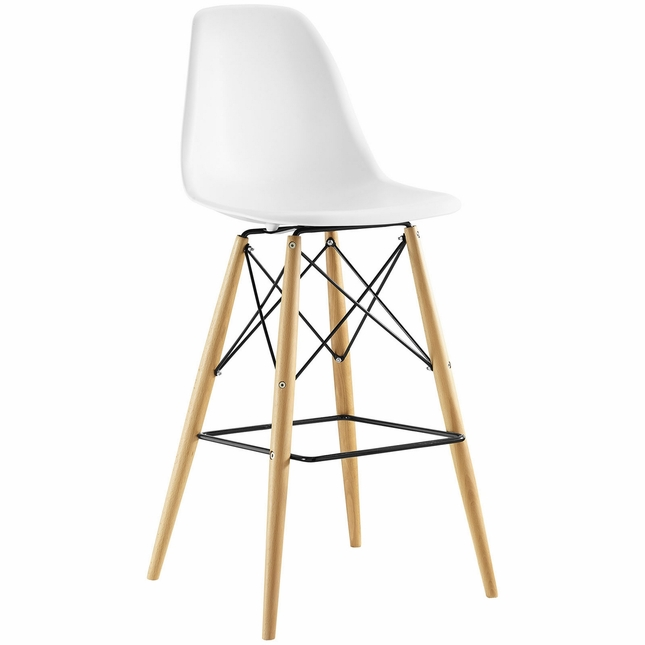 Pyramid Modern Molded Plastic Bar Stool With Wood Legs, White