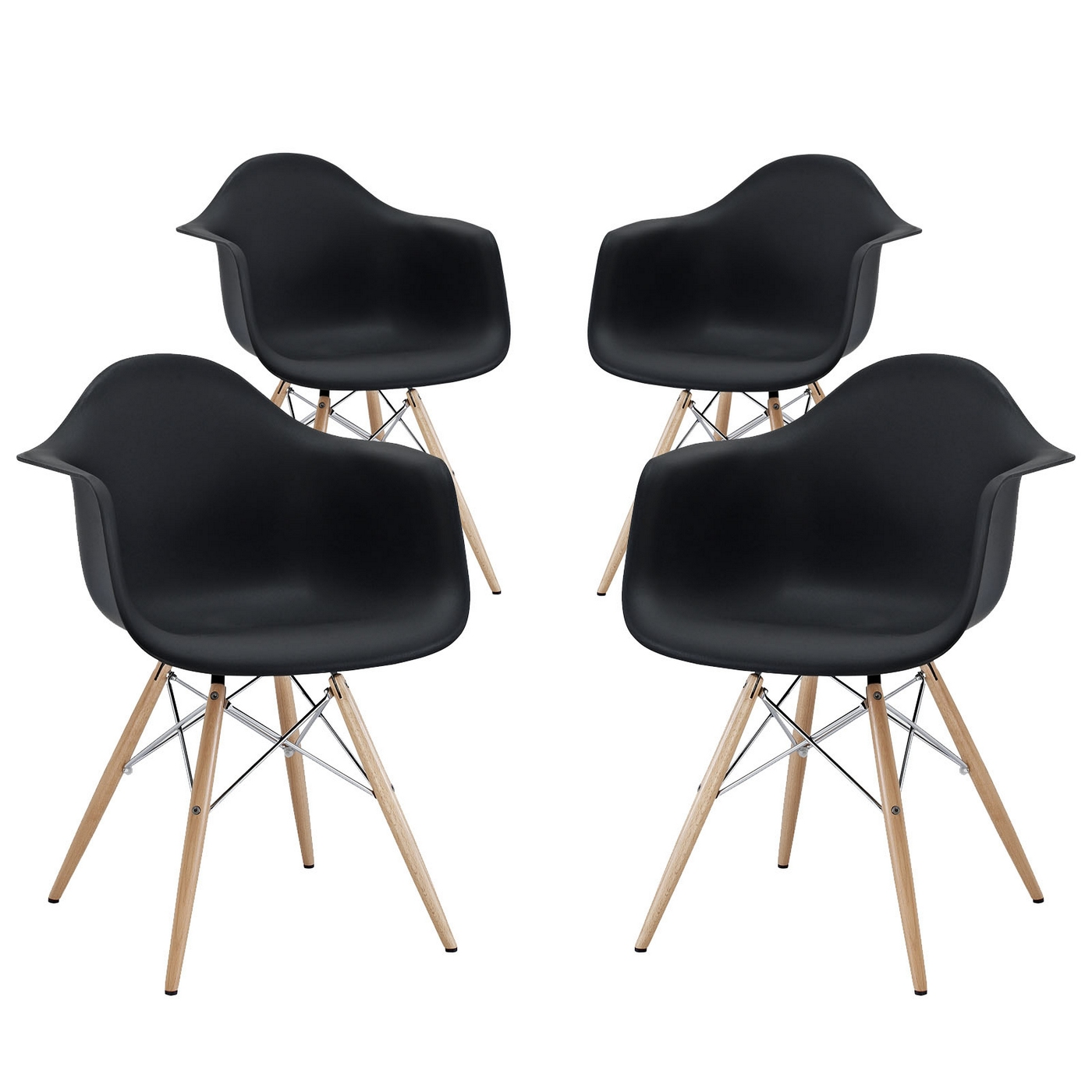 Pyramid Modern Molded Plastic Dining Armchair With Wood