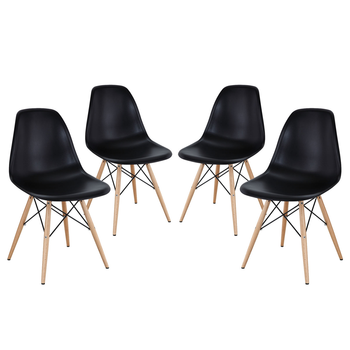 Pyramid Modern Molded Plastic Dining Side Chairs With