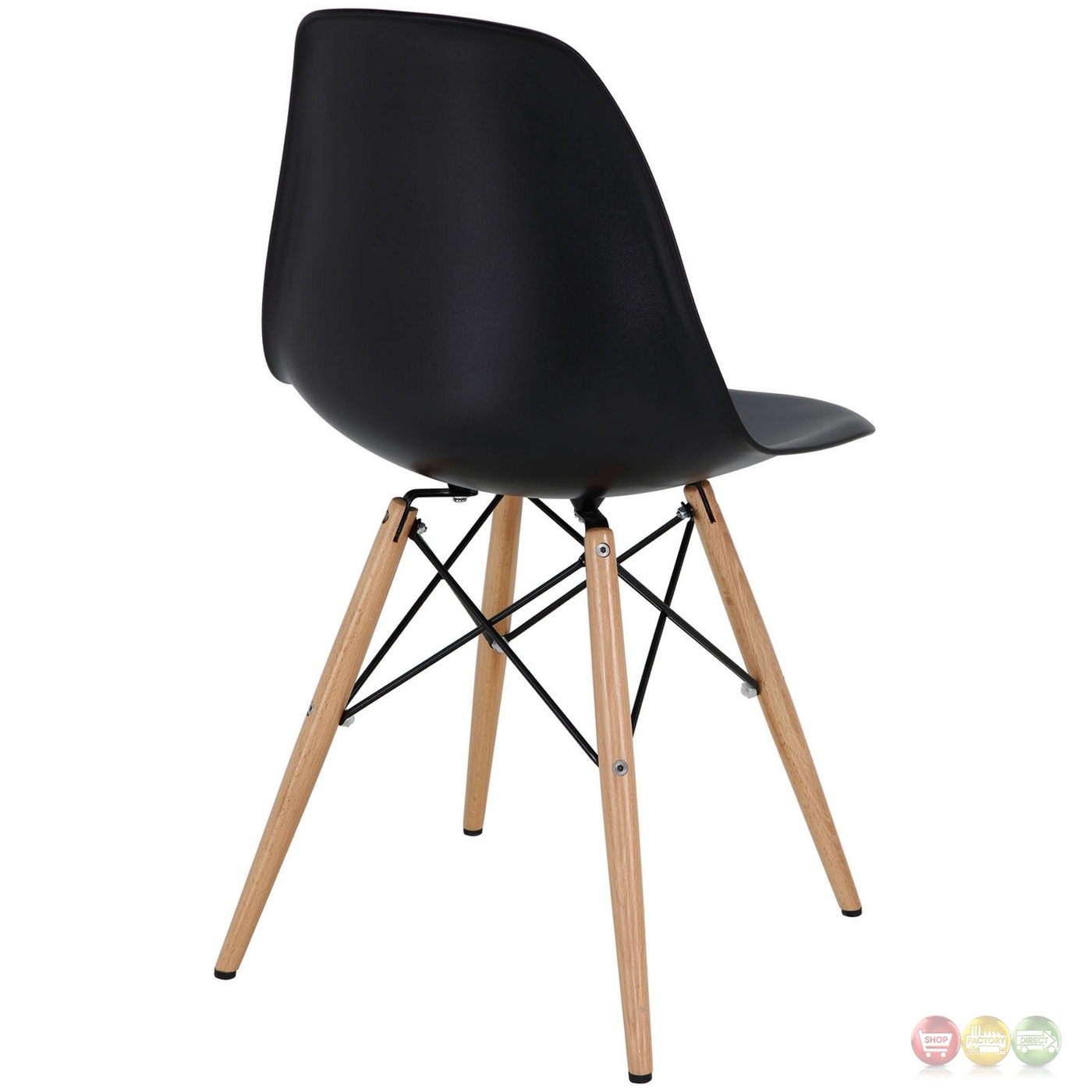 modern molded plastic dining side chairs with wooden legs black