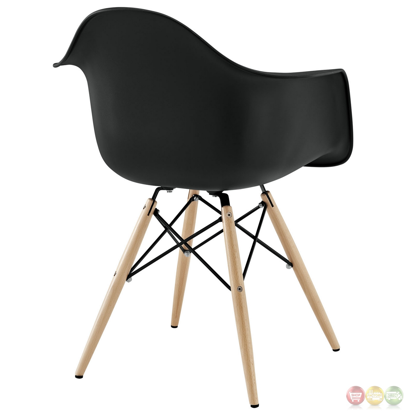 Pyramid Modern Plastic Arm Chair W/ Wood Legs & Steel Accents Black. Full resolution  file, nominally Width 1400 Height 1400 pixels, file with #963537.