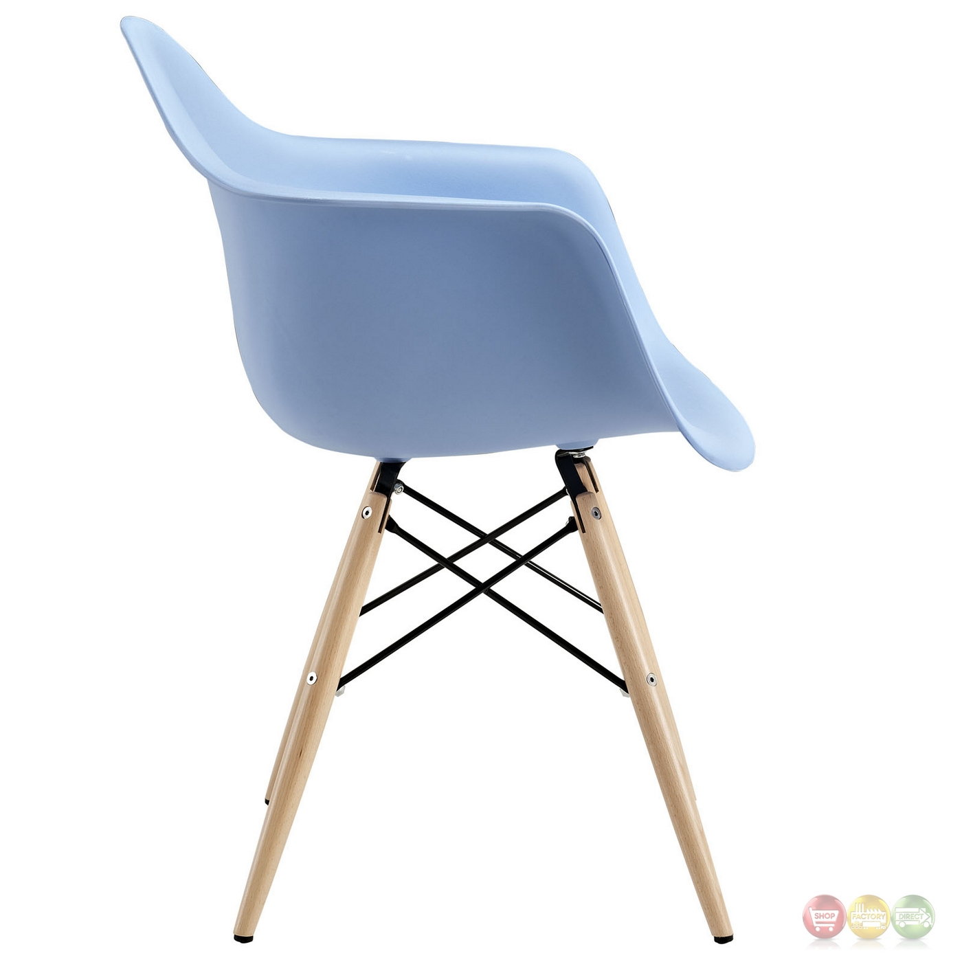 Pyramid Modern Plastic Arm Chair W/ Wood Legs & Steel Accents Blue. Full resolution  file, nominally Width 1400 Height 1400 pixels, file with #375F94.