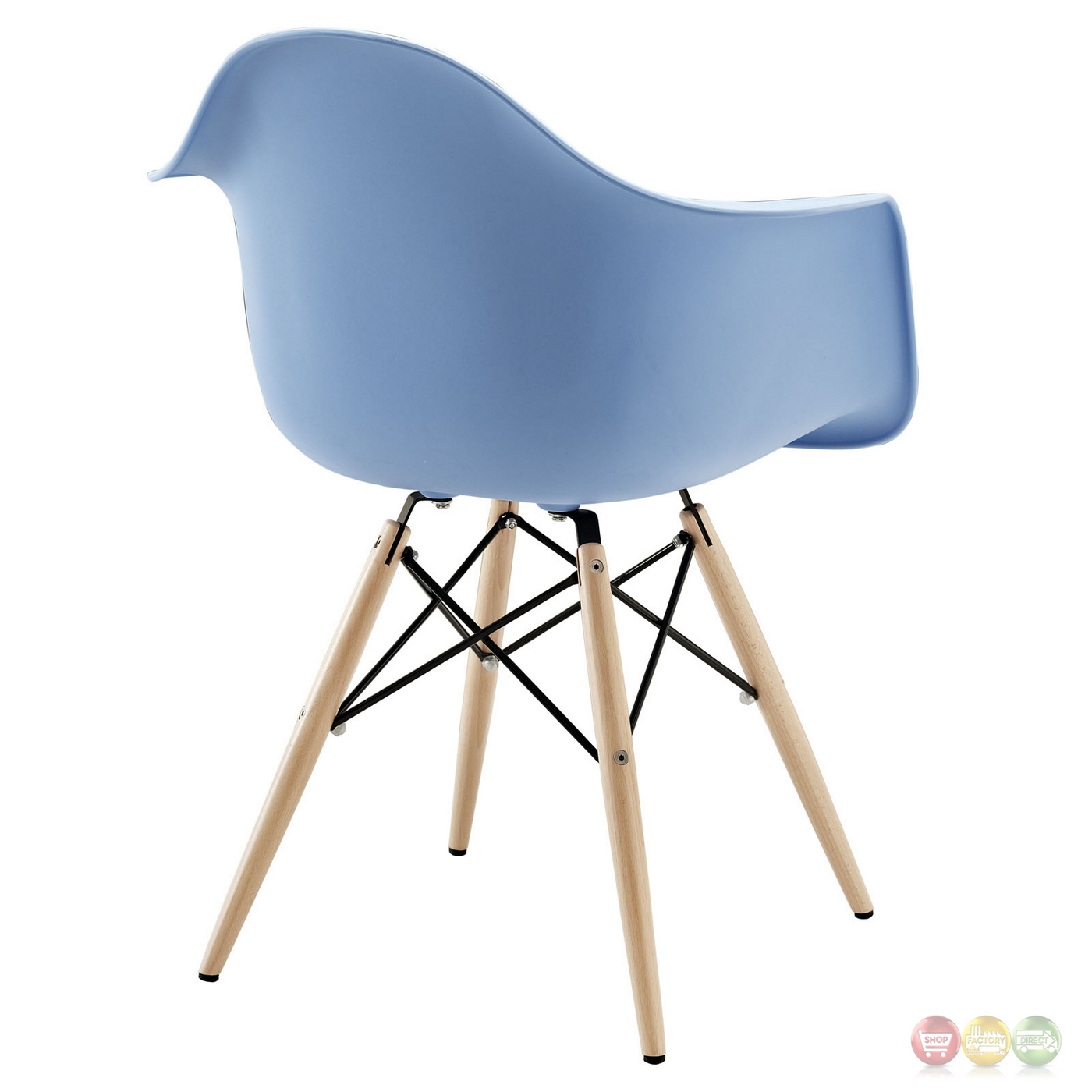 Pyramid Modern Plastic Arm Chair W/ Wood Legs & Steel Accents Blue. Full resolution  file, nominally Width 1400 Height 1400 pixels, file with #355082.