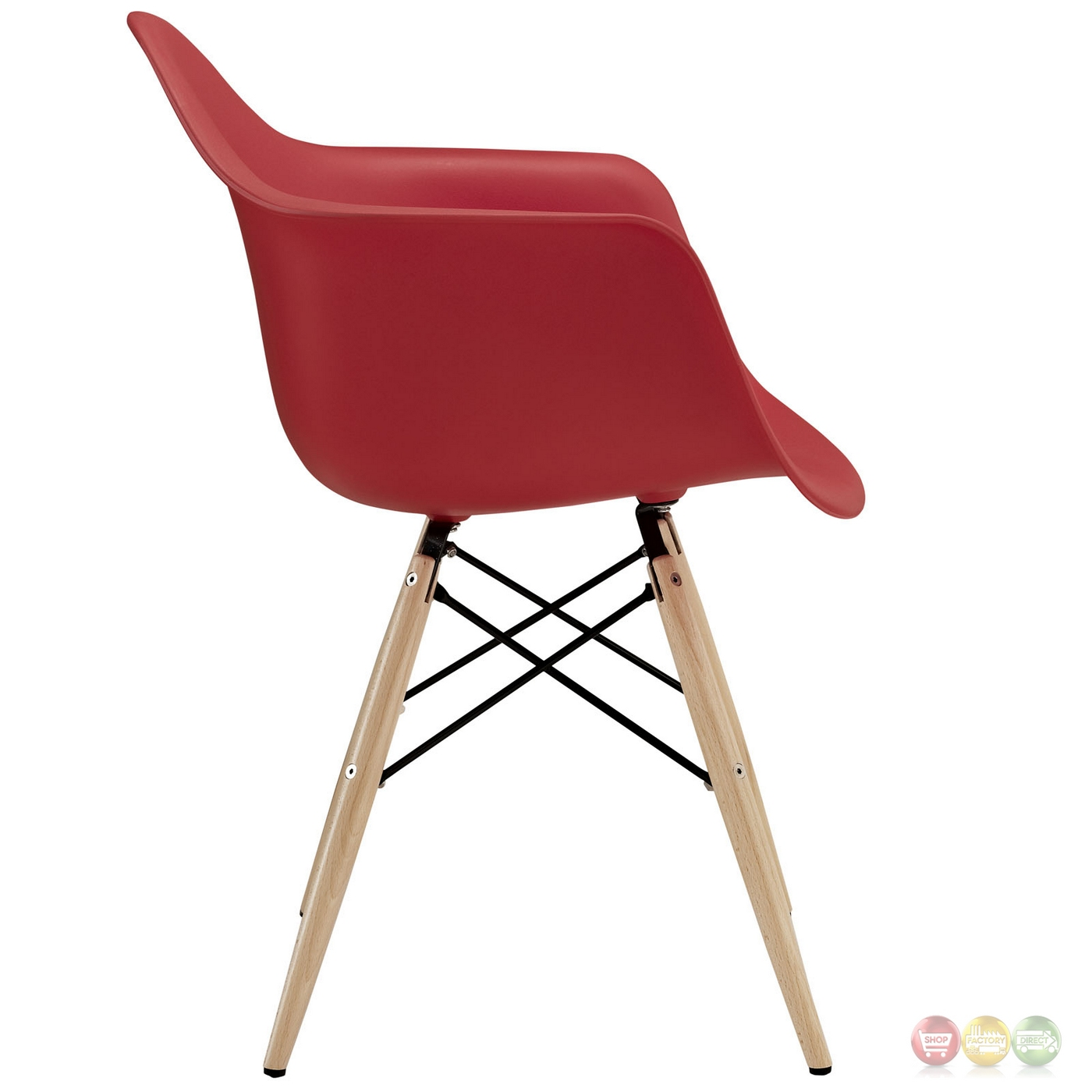 Pyramid Modern Plastic Arm Chair W/ Wood Legs & Steel Accents Red. Full resolution  file, nominally Width 1400 Height 1400 pixels, file with #91262E.