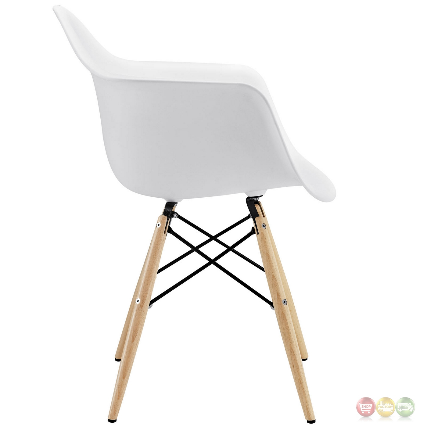 Pyramid Modern Plastic Arm Chair W/ Wood Legs & Steel Accents White. Full resolution  file, nominally Width 1400 Height 1400 pixels, file with #906C3B.
