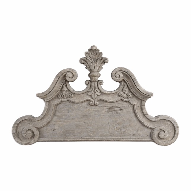 Raimondo Old World Headboard Style Wooden Wall Accent In Ivory Gray Finish