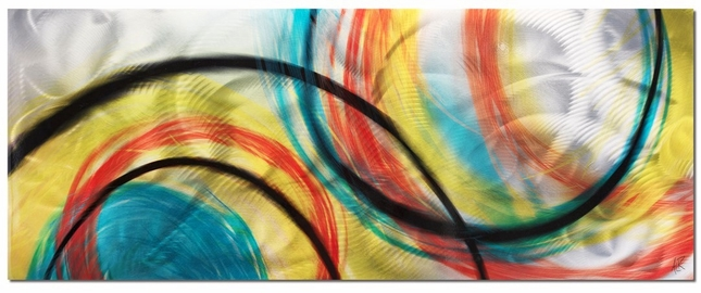 Rainbow Seasons Colorful Circles Abstract Metal Modern Art L0040
