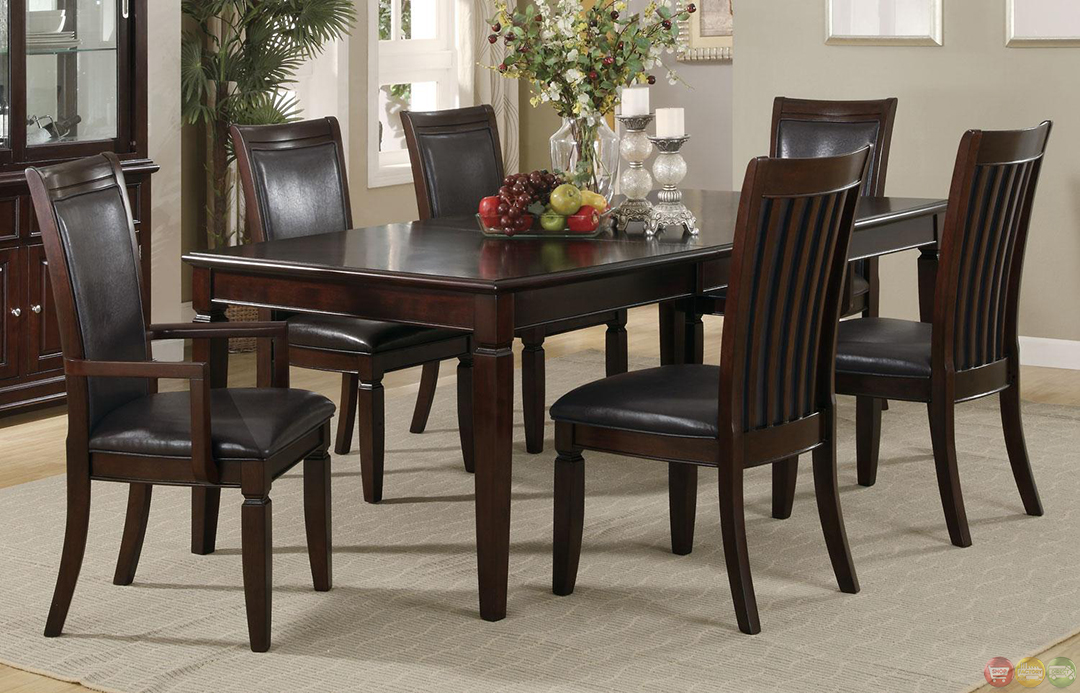 Ramona 7 piece walnut finish casual dining room set for Informal dining room sets