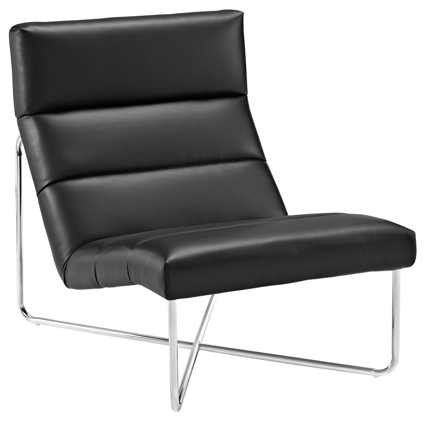 Reach Channel Tufted Vinyl Lounge Chair With Chrome Base