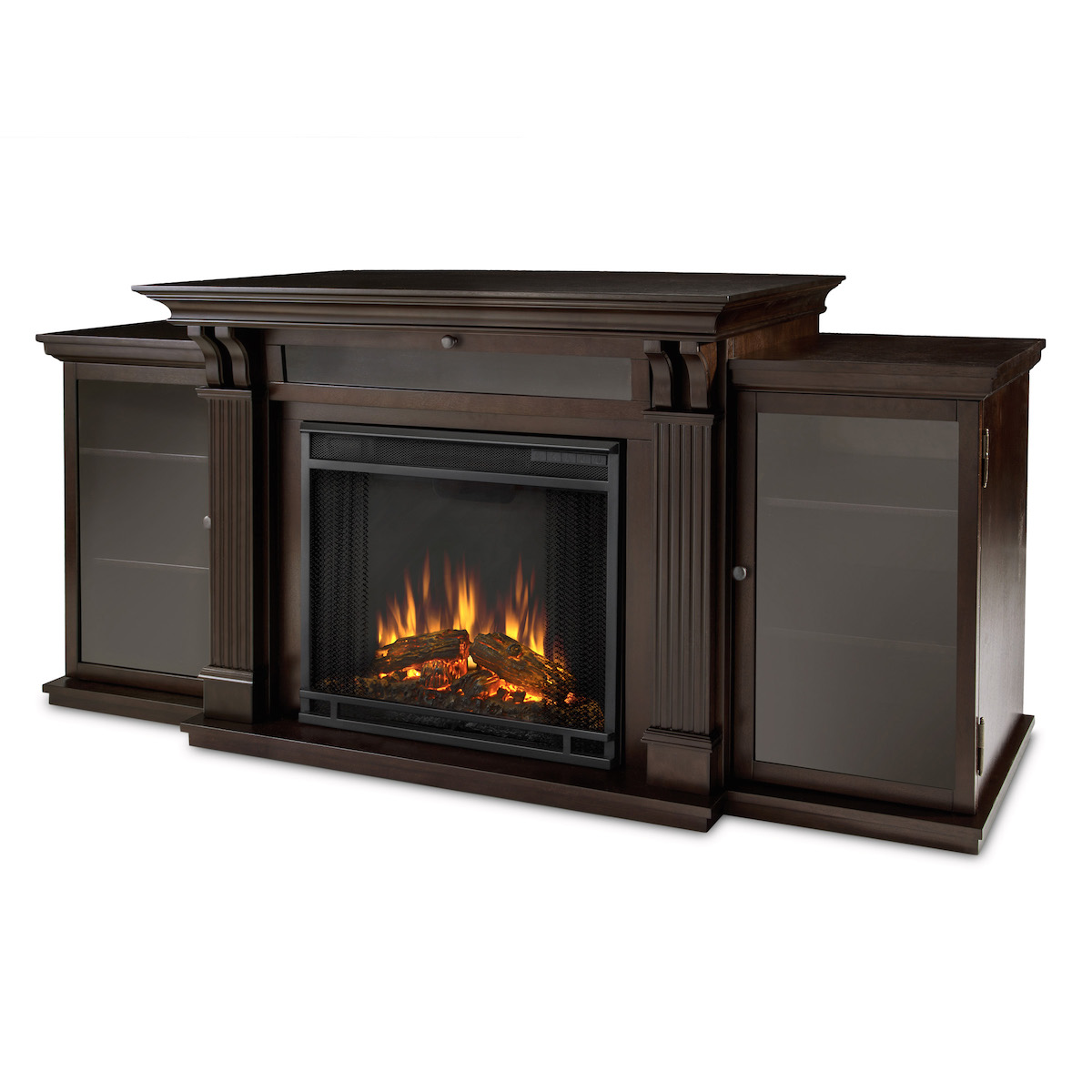 flame ashley entertainment center electric fireplace in dark walnut