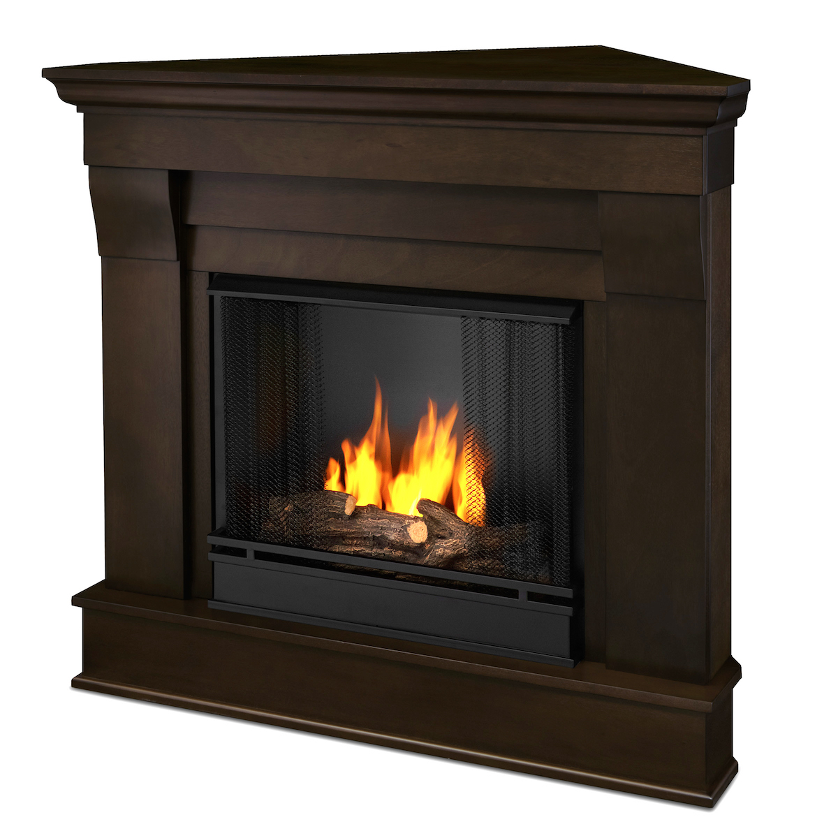 Ventless Fireplace: Real Flame Chateau Corner Ventless Gel Fireplace In Dark
