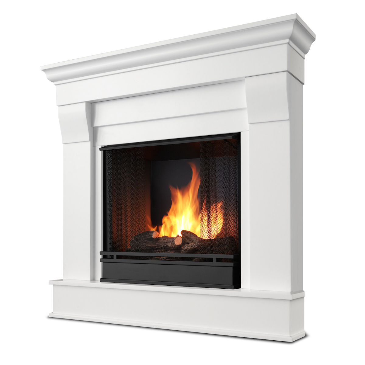 Ventless Fireplace: Real Flame Chateau Corner Ventless Gel Fireplace In White