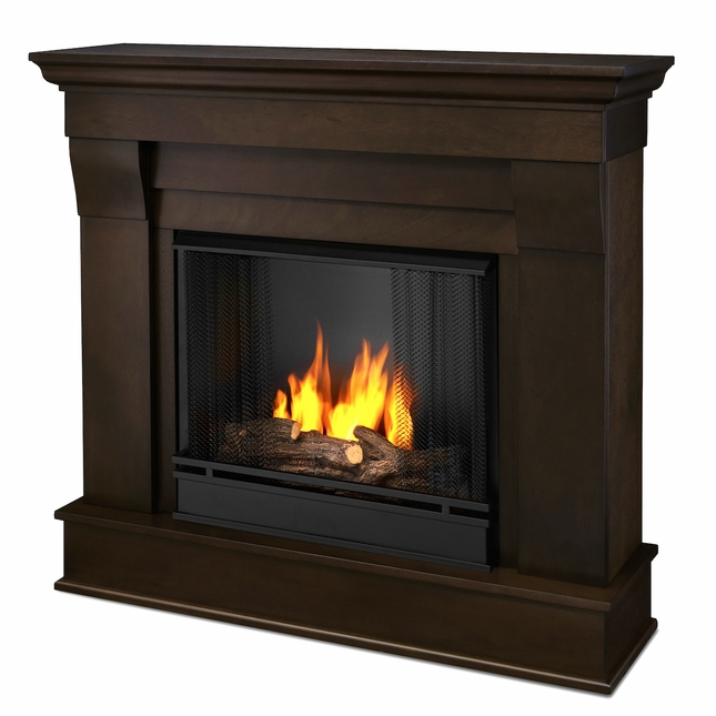 Real Flame Chateau Ventless Gel Fireplace in Dark Walnut