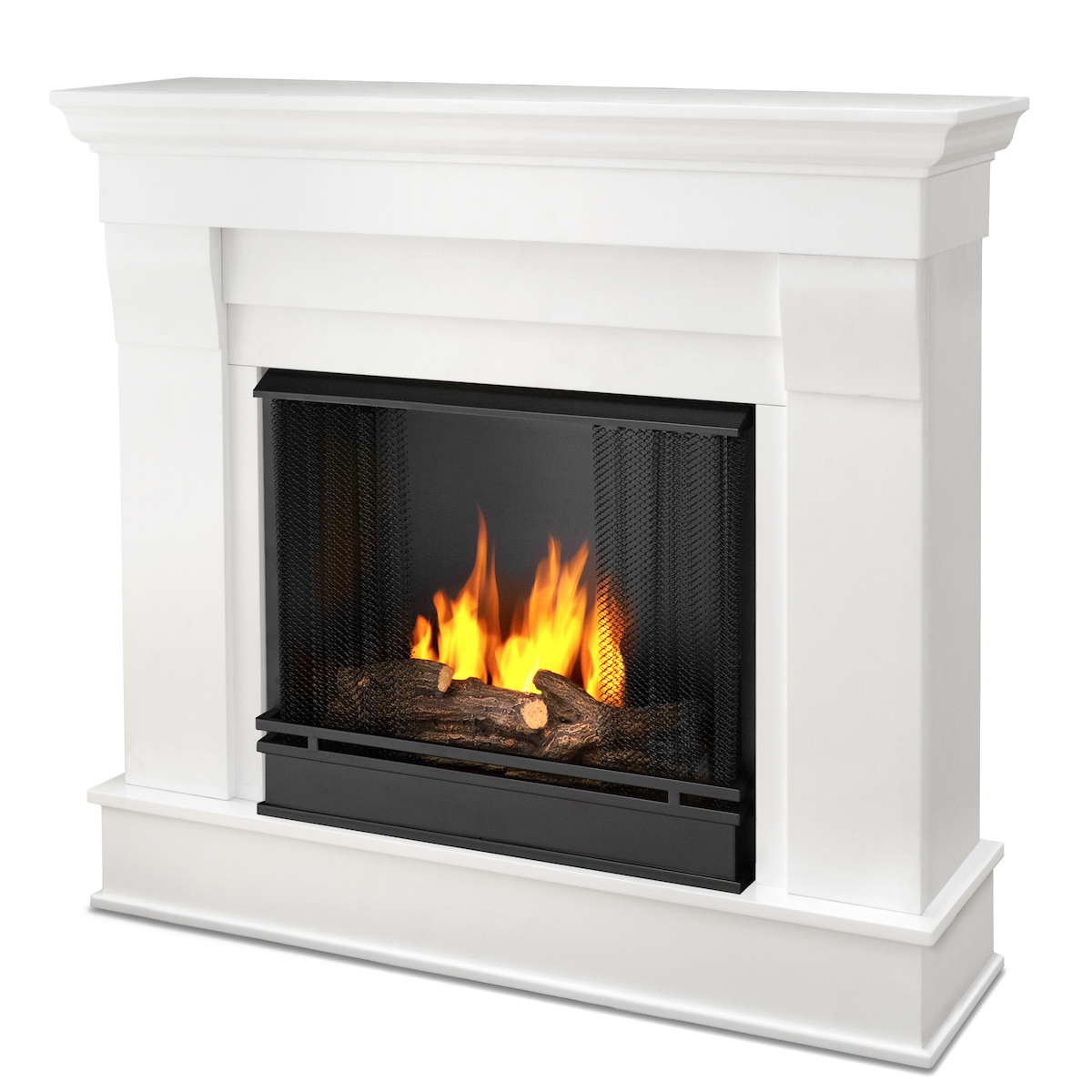 Ventless Fireplace: Real Flame Chateau Ventless Gel Fireplace In White