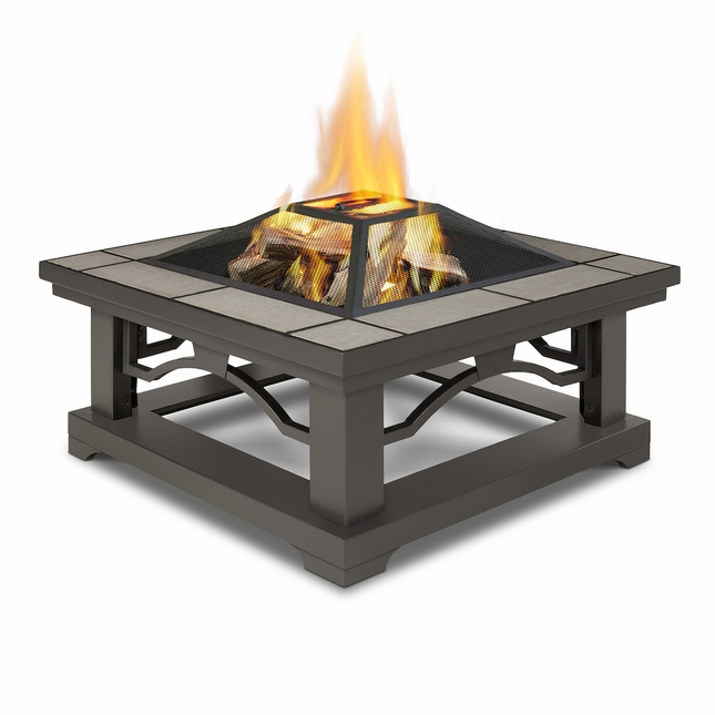 Real Flame Crestone Wood Burning Outdoor Fire Pit with Grey Tile