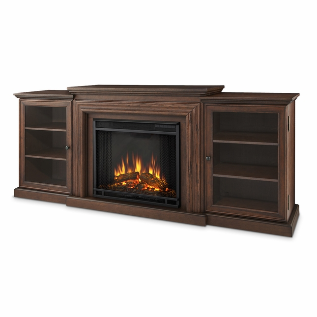 Real Flame Frederick Entertainment Center Electric Fireplace in Chestnut Oak