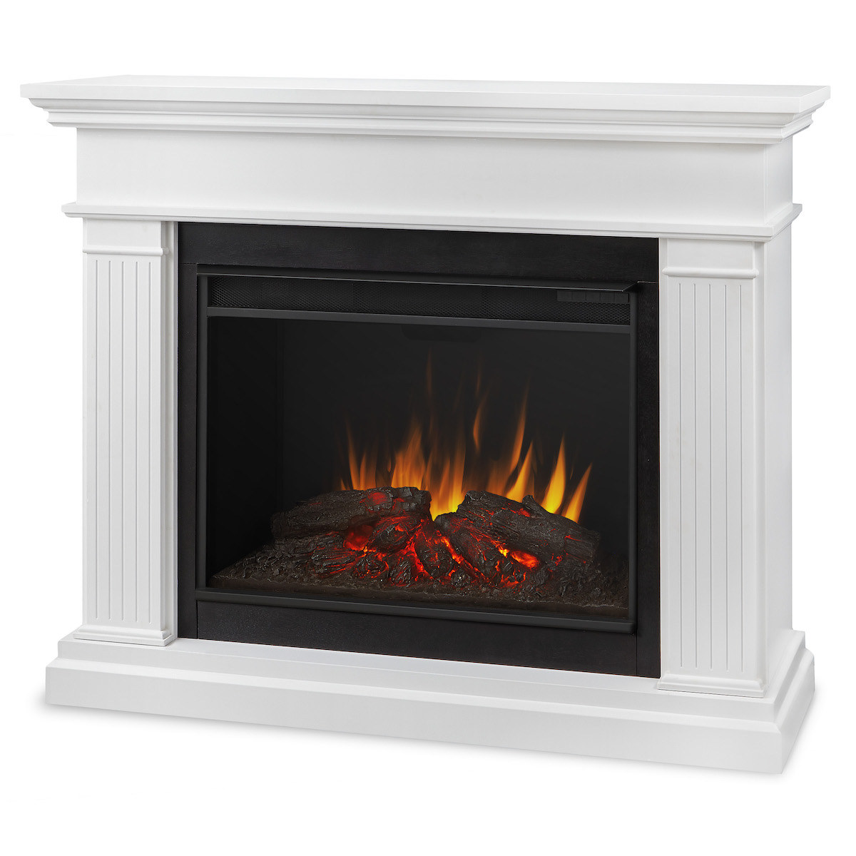 real kennedy grand electric fireplace in white