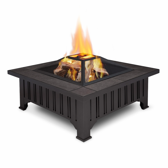 Real Flame Lafayette Gathering Table Outdoor Wood Burning Fire Pit