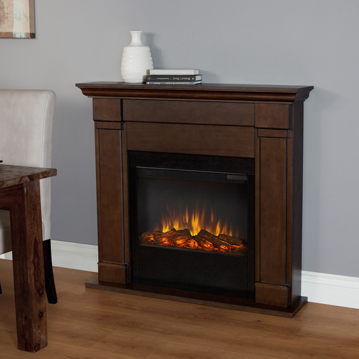 real flame lowry slim line electric fireplace in vintage