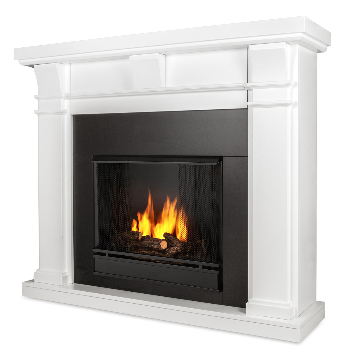 Ventless Fireplace: Real Flame Porter Ventless Gel Fireplace In White