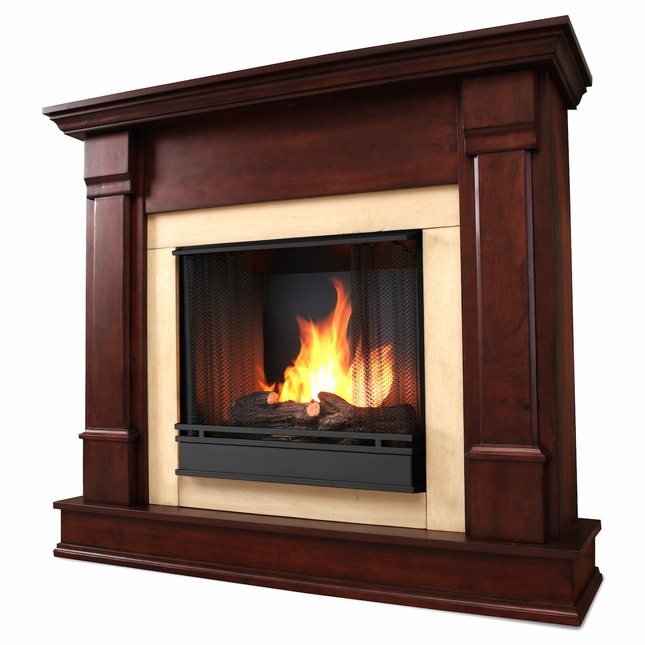 Real Flame Silverton Ventless Gel Fireplace in Dark Mahogany