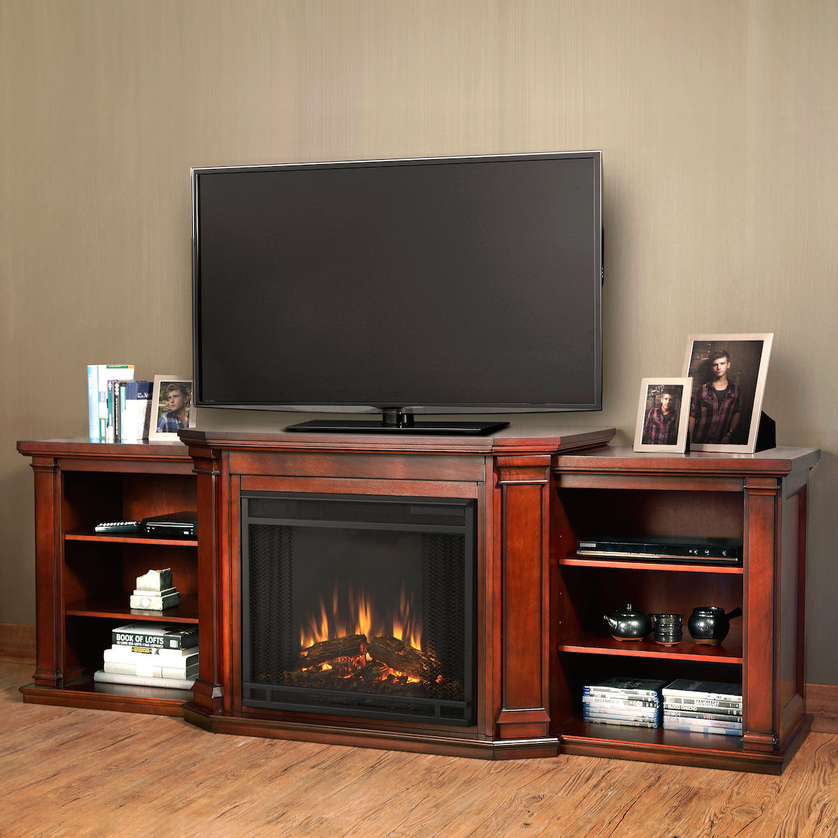 flame valmont entertainment center electric fireplace in dark mahogany